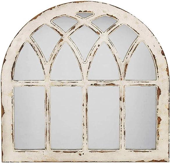 Barn Farmhouse White Arch Mirror,Wood Framed Window Mirror