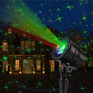 Christmas Projector Lights Led Night Light Landscape Spotlight Romantic Red and Green Star Show with Remote Decorative for Bedroom Outdoor Garden Patio Wall Holiday Party