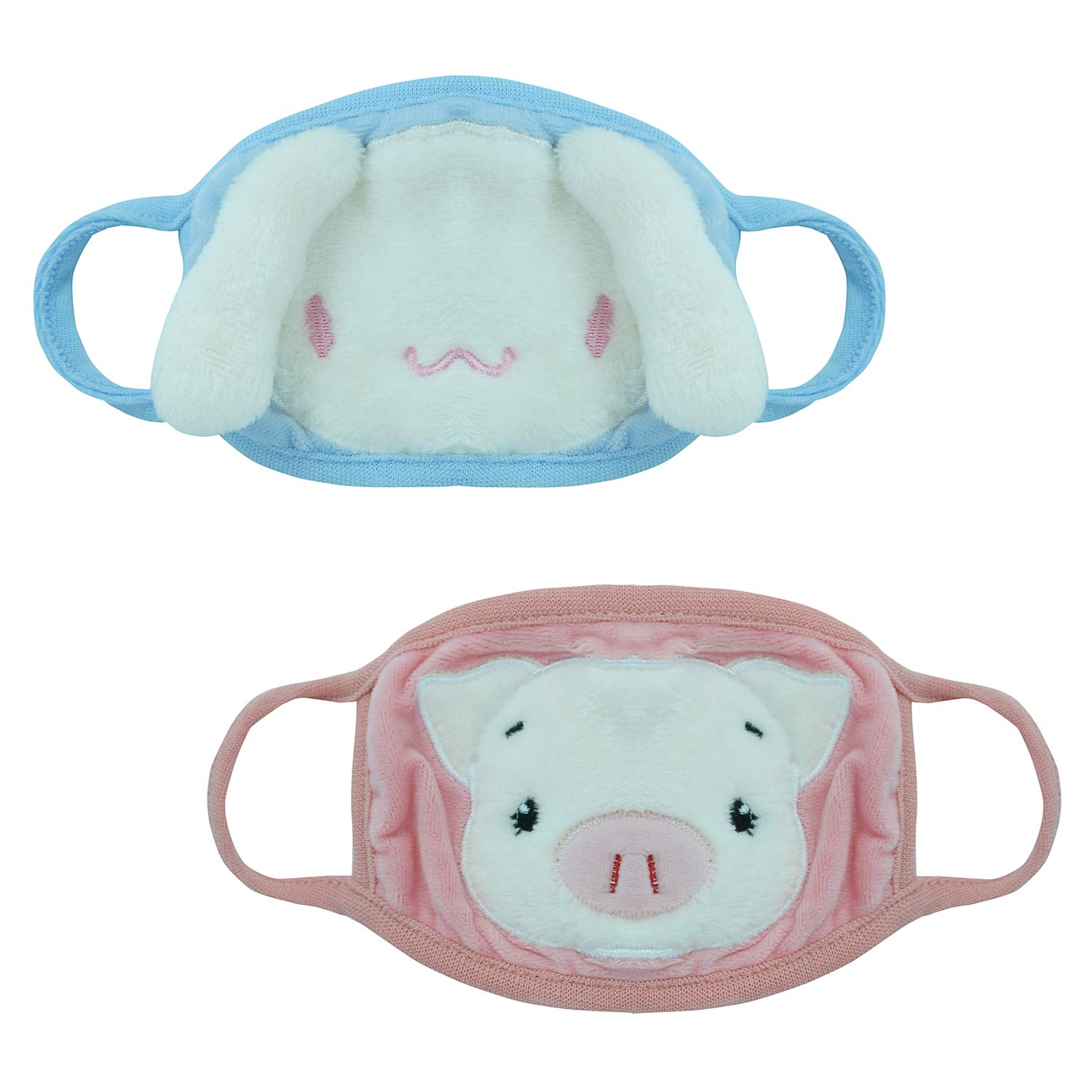 Xelue FF 2 Pack Cute Cartoon Dog and Pig Comfort Anti Dust Windproof Warm Masks for Kids and Cospaly