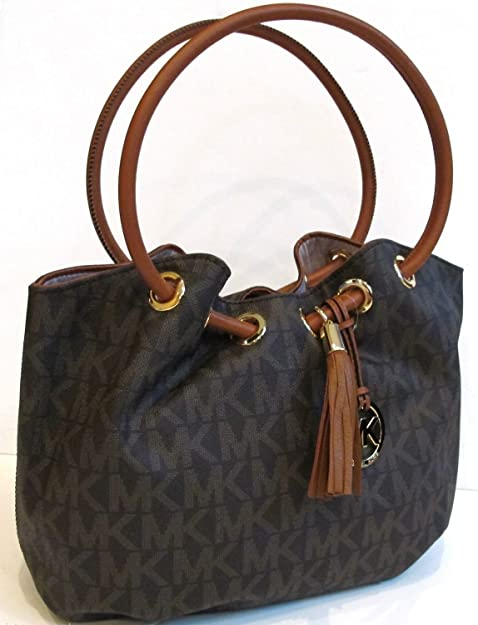 e80ff02fa9f3 Michael Kors Medium East West Ring Tote in MK Signature Brown PVC  Amazon.ca   Shoes   Handbags
