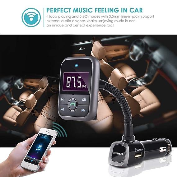 best service 84010 402e5 FM Transmitter Bluetooth USB Flash Drive Music, Bluetooth Hands free Car  Kit MP3 Player FM Modulator Radio Adapter for iPhone 8 7 Plus 6S 5S,  Samsung ...