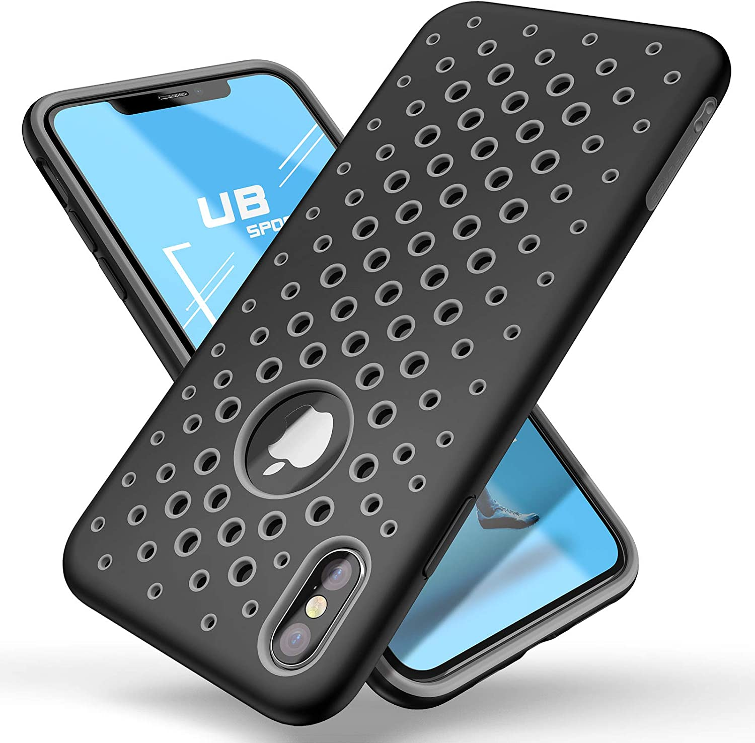 SUPCASE Unicorn Beetle Sport Series Case for iPhone Xs Case 2018 Release Liquid Silicone Rubber TPU Premium Hybrid Case [Hole Pattern] with Heat Dissipation (Black)
