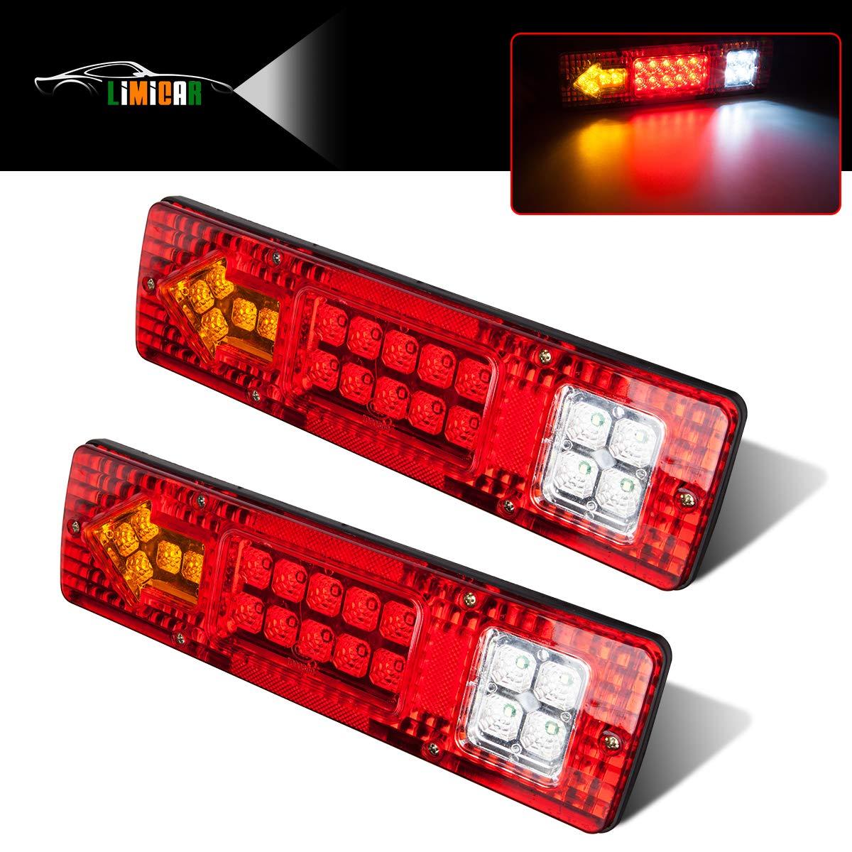 LIMICAR 19 LED Red Amber White Integrated Trailer Tail Lights Bar 12V Turn Signal Running Lamp for Trailer UTV UTE RV ATV Truck 2PCS by LIMICAR