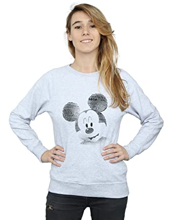 c2c1532ca60 Disney Femme Mickey Mouse Text Face Sweat-Shirt Small Heather Gris