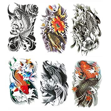 Yesallwas Large Temporary Tattoo Sticker Fake Tattoos,waterproof Long  Lasting Body Art Makeup Sexy Realistic Arm tattoos , koi Fish Tattoos,