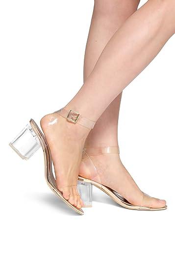 483ff8c4d Amazon.com | Herstyle Women's Elinda- Perspex Heel Ankle Strap WIHT  Adjustable Buckle | Sandals