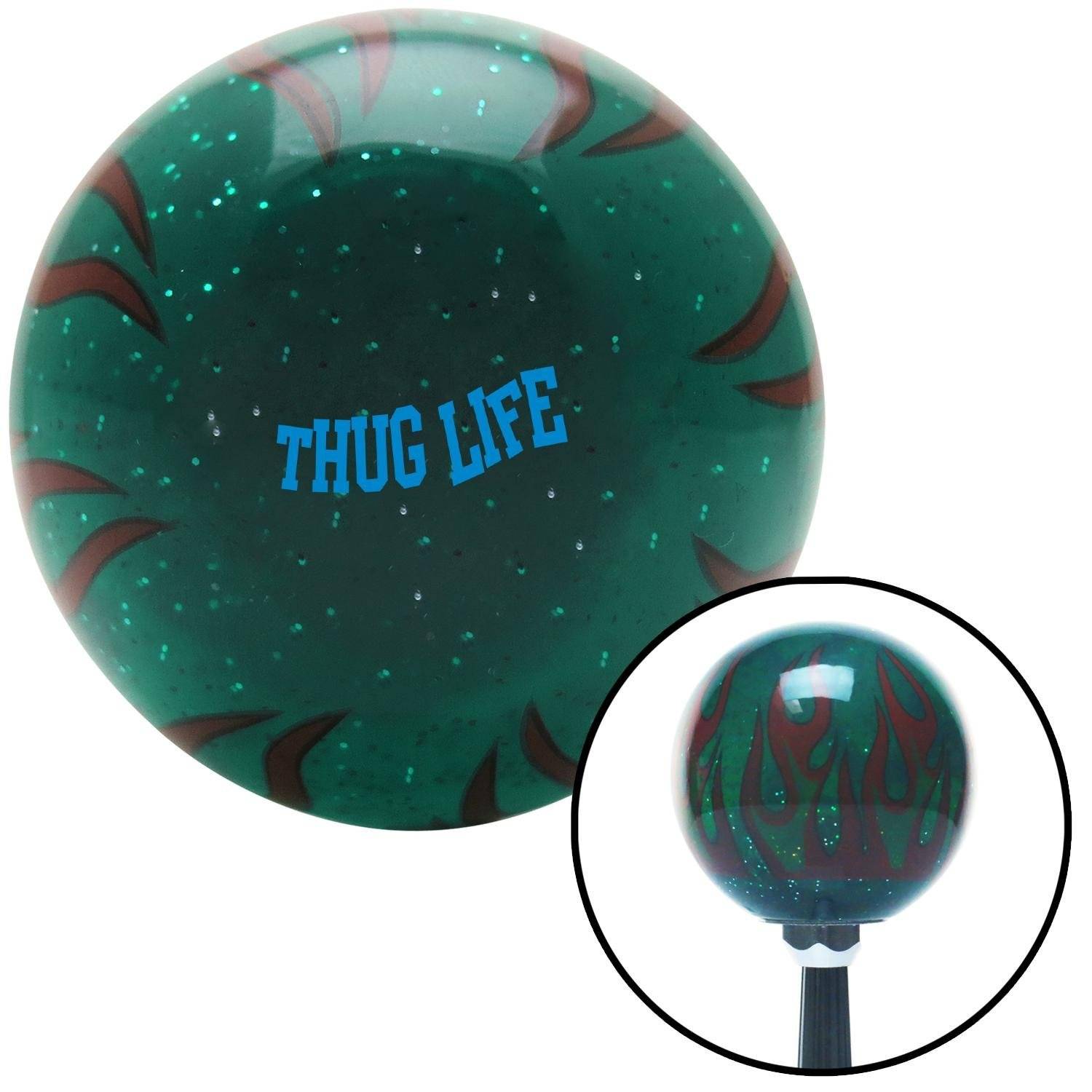 American Shifter 301063 Shift Knob Blue Thug Life Green Flame Metal Flake with M16 x 1.5 Insert