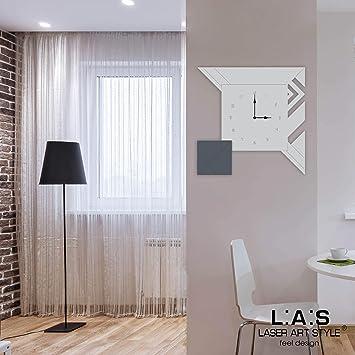 L:A:S Laser Art Style Orologio da Parete Design Moderno per Cucina Salotto  Soggiorno, Grigio Luce-Antracite-Incisione Legno, 50x50 cm