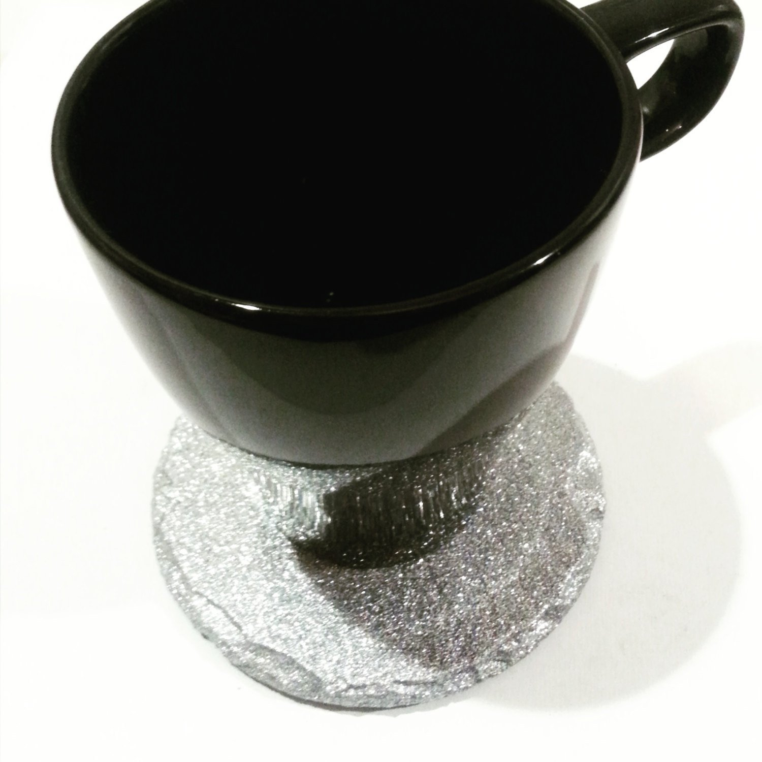 Round Renee Redesigns Handmade Silver Slate Glitter Coasters For Drinks 4 x 4 inches Unique 4-Piece Holiday Glitz Gift Set Protect Your Table Tops From Drink Rings and Spills