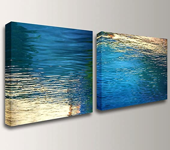 u0026quot;Beckonu0026quot; - Modern Canvas Wall Art Set - Blue / Gold & Amazon.com: