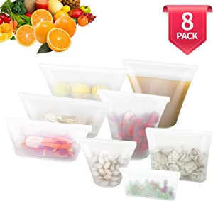 8 Pack Reusable Silicone Food Bag, BPA Free Leakproof Zip Lock Containers for Fruit/Snack/Vegetables, Microwave Dishwasher and Freezer Usable (White)