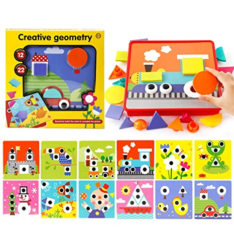 Amazon.com: Learning Button Art Pegboard For Toddler, Shapes ...