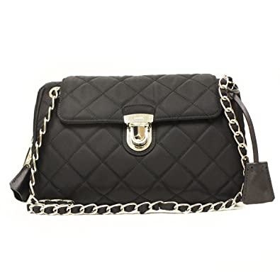 99927cf4e6d9 Prada Tessuto Impuntu Pattina Quilted Nylon Chain Shoulder Bag BR4965, Black  / Nero: Handbags: Amazon.com