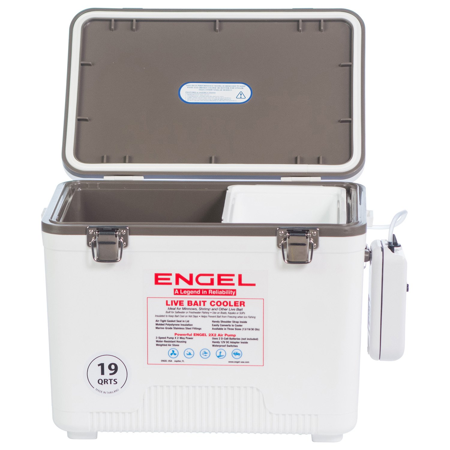 Engel Coolers Live Bait Cooler/Dry Box with Air Pump.
