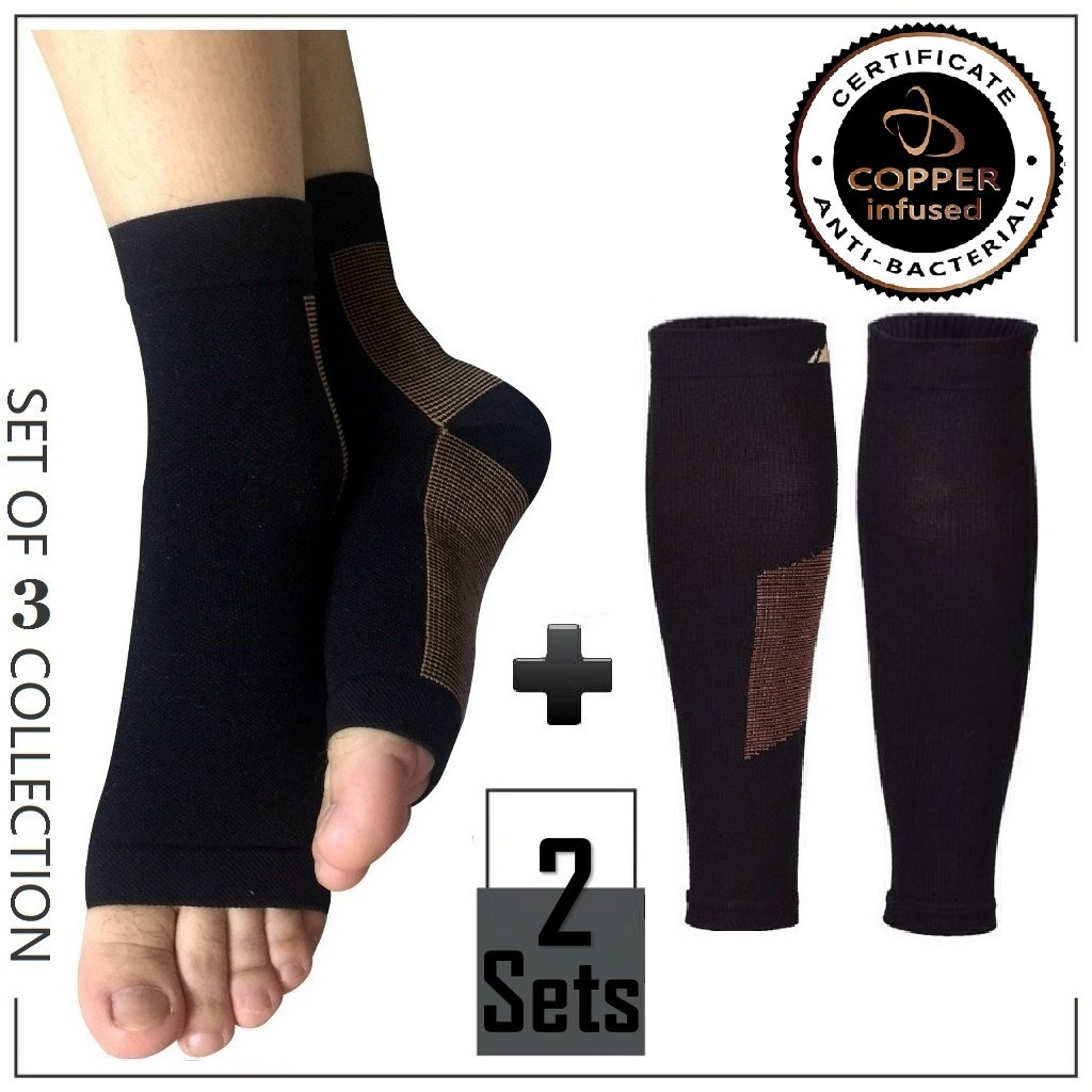 Highcamp Copper Compression Ankle Sleeve/Foot Sleeve & Calf Compression Sleeve Support Plantar Fasciitis, Shin Splint, Calf Pain, Stiff Sore Muscle Joints - GUARANTEED Relief & Recovery- 2 Sets L/XL