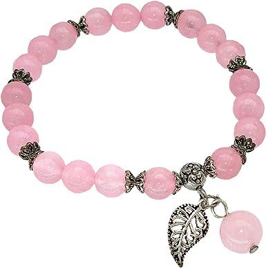 Hot Pink Agate Stretch Bracelet Pink and Black Agate Natural Gemstone Bracelet Stacking Bracelet Pretty Girlfriend Gift Buddha Bracelet