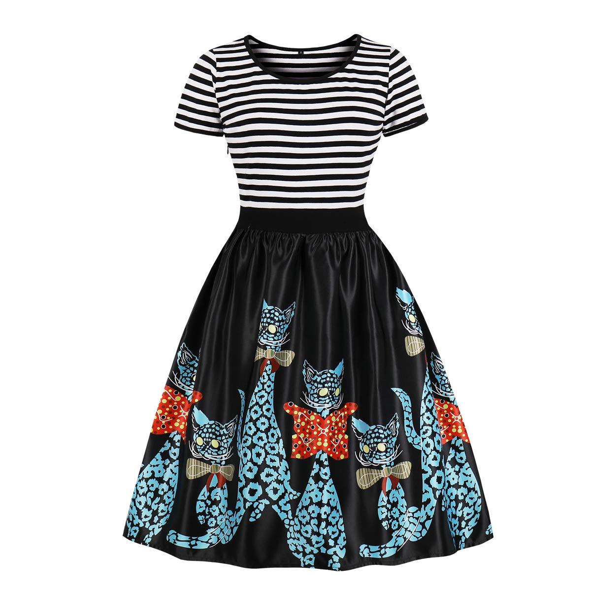 Wellwits Women's Sailor Striped Top Cats Print Tea Party Vintage Swing Dress 4XL