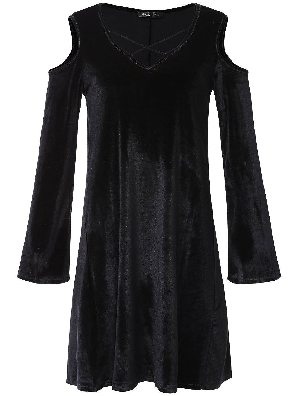 JayJay Women Flower Print Velvet Off Shoulder Bell Sleeve Caged Neck Shirt Tunic Dress