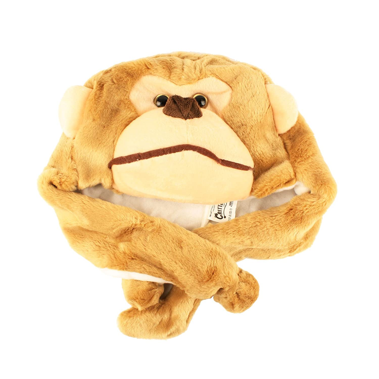 Monkey Critter Cap Plush Animal Hat with Ear Flaps That Button Under the Chin (Brown) …