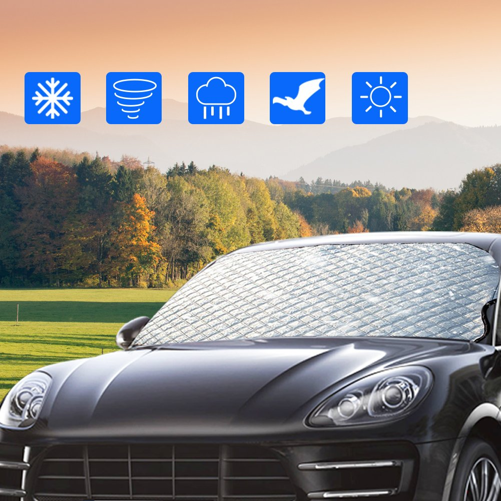 57 Inch ZOTO Windshield Snow Cover X 39 Inch W Car Front Windscreen Ice Protector,Non Scratch Durable Frost Cover for Vehicle,Morning Time Saver Dust /& Sun Shade Protector Fits Most Cars H