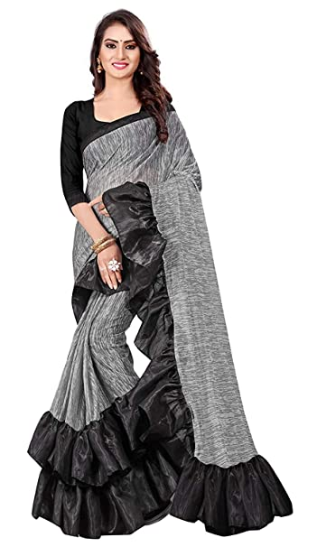 1781cd8fa5a69c Anubhuti Sarees Georgette Saree With Blouse Piece (Ruffle Saree gray Free  Size)  Amazon.in  Clothing   Accessories