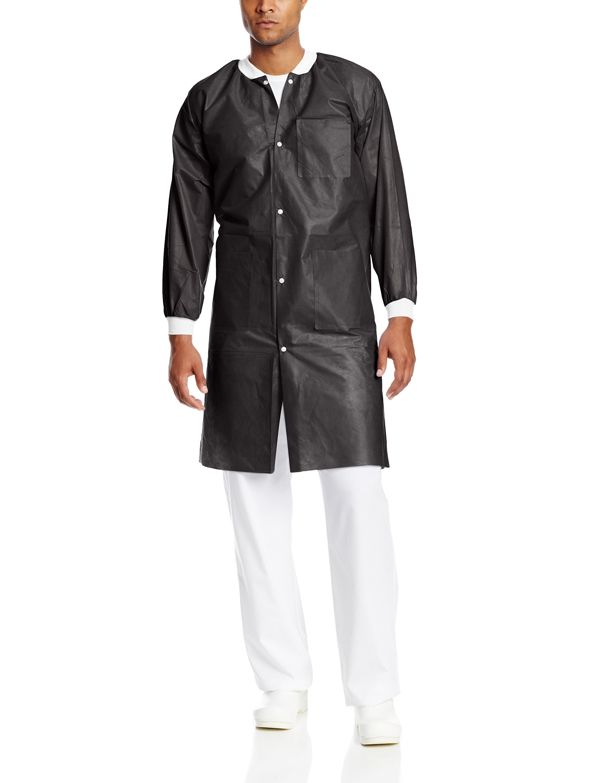 ValuMax 3660BK2XL Extra-Safe, Wrinkle-Free, Noble Looking Disposable SMS Knee Length Lab Coat, Black, 2XL, Pack of 10