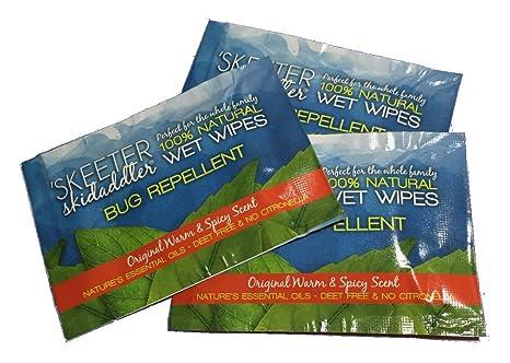Skeeter skidaddler 100% natural repelente de insectos toallitas húmedas cálido & Spicy aroma, ...