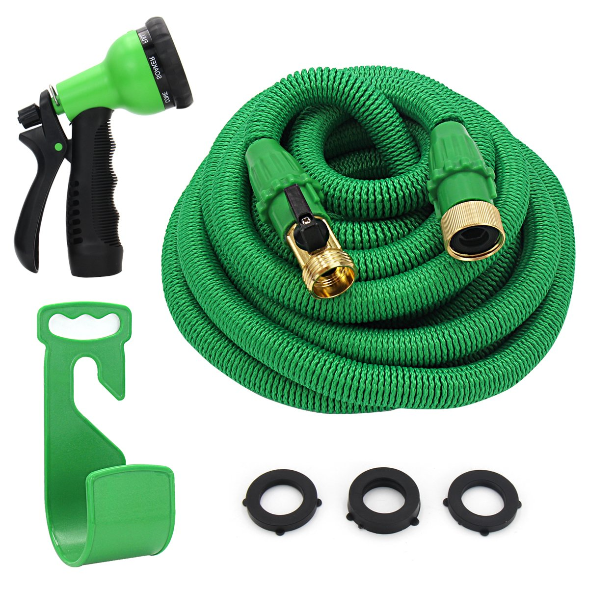 "YEAHBEER 50ft Expandable Garden Hose,Durable Lightweight Expandable Water Hose,3/4"" Patent Leak-Proof Connector,8-Mode High Pressure Spray Nozzles,Free Storage Bag + Hook"