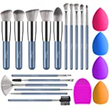 BESTOPE Makeup Brushes 16PCs Makeup Brushes Set with 4PCs Makeup Sponge and 1 Brush Cleaner Premium Synthetic Foundation Brus