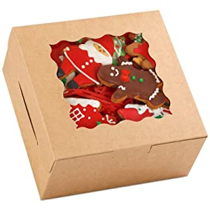 Moretoes 48pcs 6 Inch Brown Cookie Boxes 6x6x3 Inches with Window Kraft Paper Bakery Boxes Pastry Boxes Cupcake Boxes