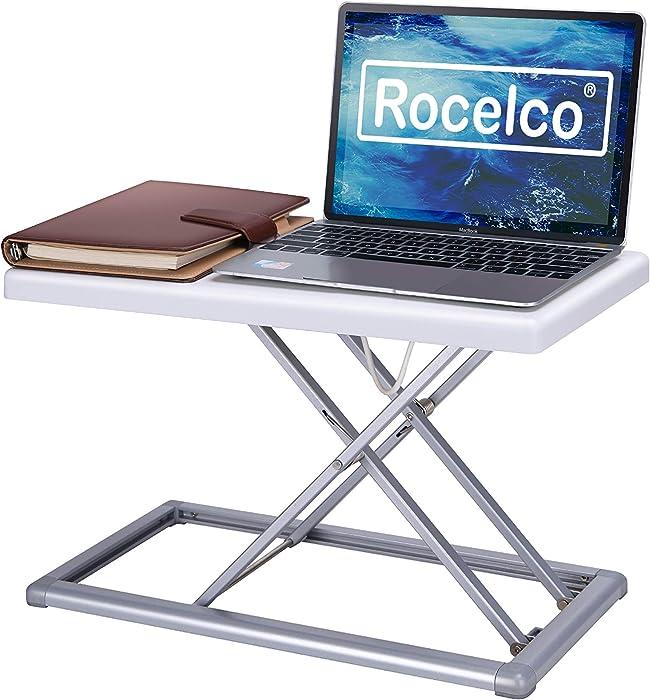 "Rocelco PDRW Portable Desk Riser, 19"", White"