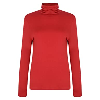 48741fa432fd1d Image Unavailable. Image not available for. Colour: LADIES POLO NECK ROLL  NECK TOP ...