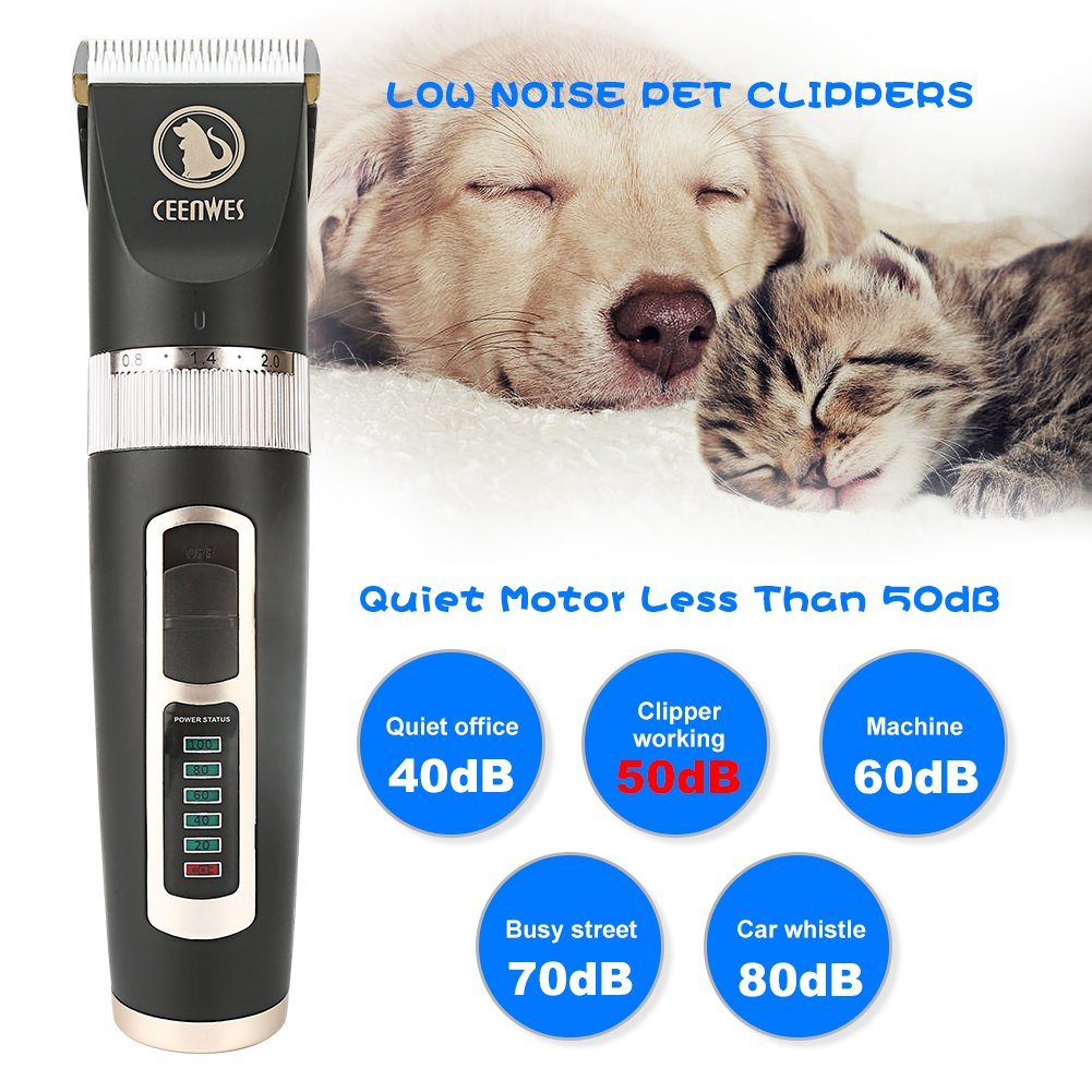 Ceenwes Dog Clippers Heavy Duty Low Noise Rechargeable Cordless Pet Clippers Professional Dog Grooming Clippers with Power Status Dog Grooming Kit with 11 Tools for Dogs Cats Other Animals by Ceenwes (Image #4)