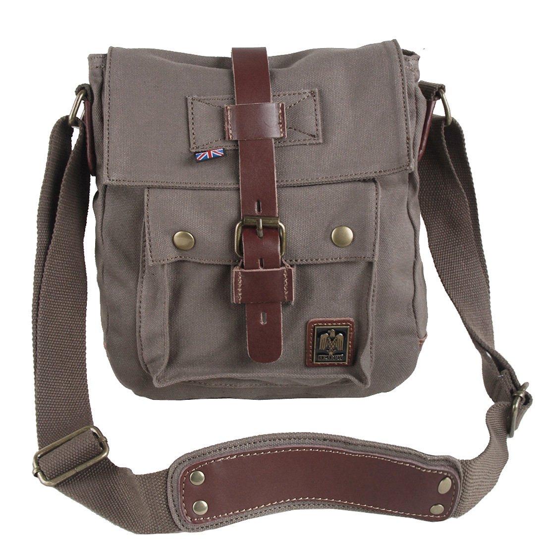 AkGOO Small Vintage Shoulder Bag Crossbody Satchel Canvas Leather Messenger Bag