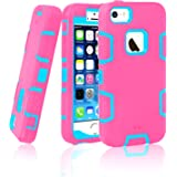 iPhone 5S Case, iPhone SE Case, EC™ 3in1 Shock Absorbing Case, Rubber Combo Hybrid Impact Silicone Armor Hard Case Cover for Apple iPhone 5S/5/ iPhone SE 2016 (C-Blue/Hot Pink)