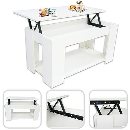 Todeco Mesa de Centro Blanca Brillante con Plataforma elevable y ...