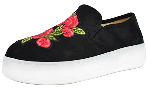 18e77d15fab0a Chase & Chloe Women's Embroidered Floral Platform Fashion Sneaker