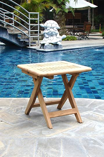 WholesaleTeakFurniture Grade-A Teak Wood Beautiful Kingston 23.5″ Folding Bath Shower Bench Stool Side End Table WFAXSTKS