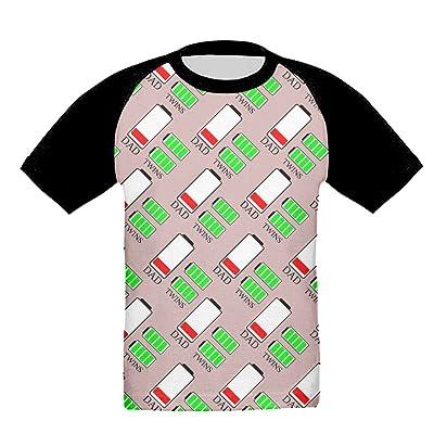Dad Twins Funny 3d Print Girls Soft T Shirt Crew Neck Baseball T-Shirts