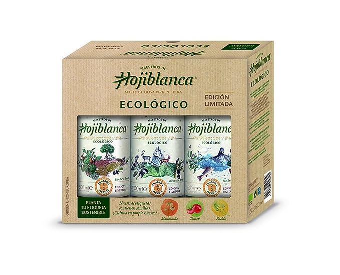 Maestros de Hojiblanca Ecologico,Pack 3 botellas x 0,5L Vidrio Aceite Virgen Extra