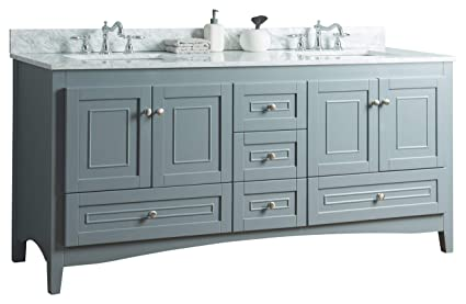 Swanbath 72 Inch Solid Wood Bathroom Vanity Cabinet In Grey With Carrara  Marble Counter Top U0026