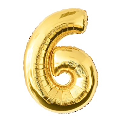 Globo de lámina 6 dorado Número enorme 100 cm rellenable con helio o aero fiesta de cumpleaños: Belleza
