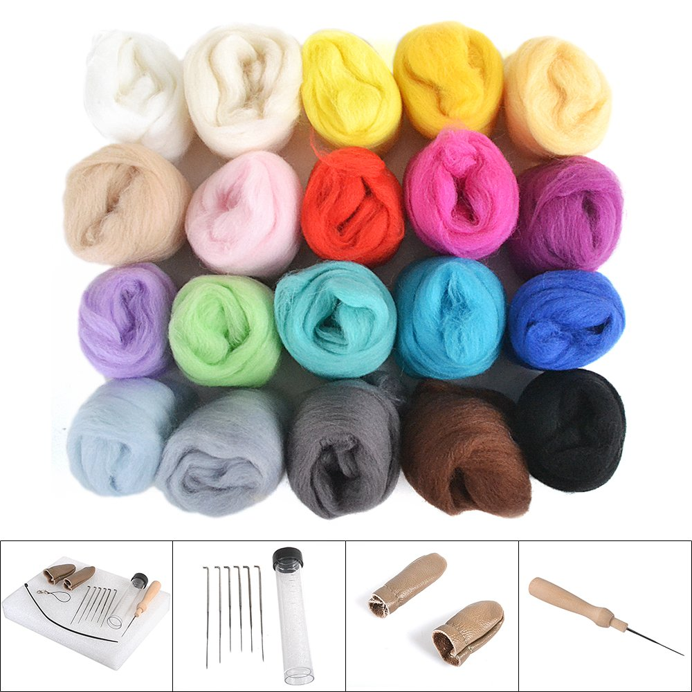 100G Wool Needles Felt Mat Tool Dsidols Needle Felting Starter Kit Wool Felt Tools with 20 Colors 5g Each Color Wool Felt Tools Handle Finger Guards