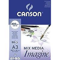 Canson Imagine Papier à dessin A3 29,7 x 42 cm 50 feuilles Blanc pur