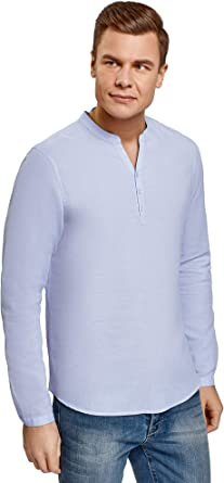 oodji Ultra Hombre Camisa Recta sin Cuello: Amazon.es: Ropa y accesorios