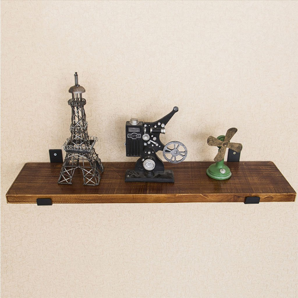 Wall-Mounted Separator Bookshelf Wrought Iron Wooden Industrial Wind Shelf Kitchen (Size : 40cm)