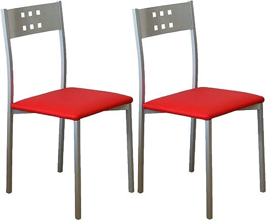 Miroytengo Pack 2 sillas Cocina Estilo Moderno Costa Color Rojo ...