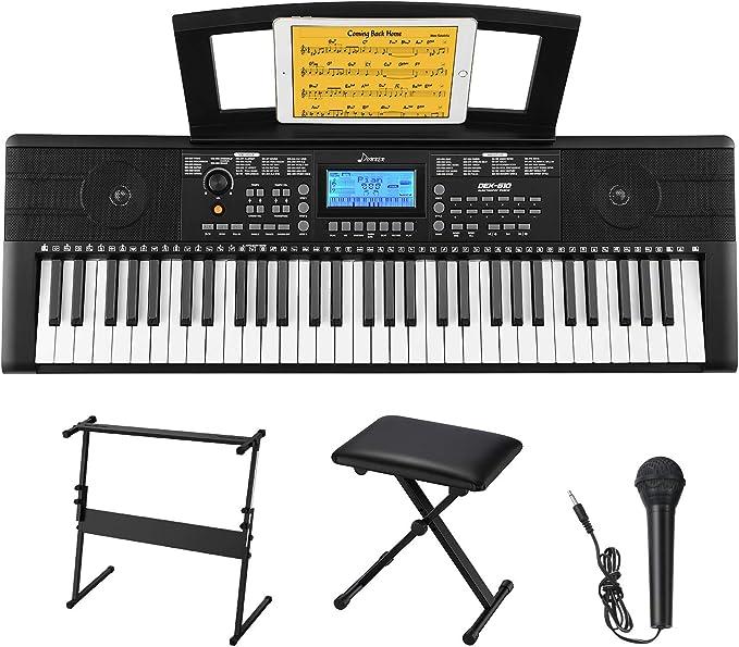 Donner Kit de Teclado Piano Electrico 61 Teclas, Organo Electronico Piano Digital Professional con Soporte de Piano/Banco/Atril de ...