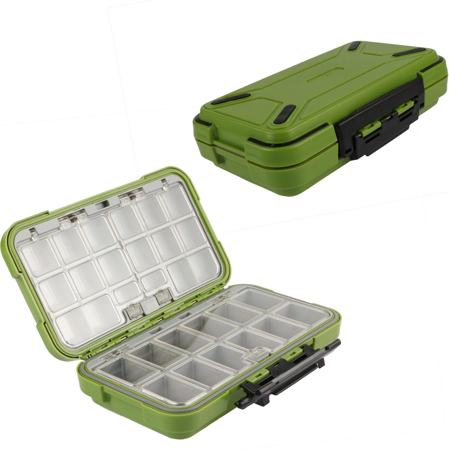 Goture Fishing-Lure-Boxes-Bait Tackle-Plastic-Storage, Small-Lure-Case, Mini-Lure-Box for Vest, Fishing-Accessories Large Boxes Storage Containers (Large/Green) by Goture
