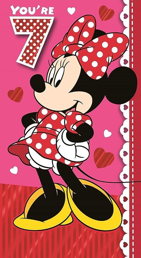 Tarjeta de cumpleaños Minnie Mouse - edad 7: Amazon.es ...